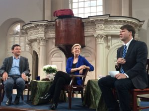 Thomas Piketty and Elizabeth Warren discuss rising inequality with Ryan Grim at the Old South Meeting House, Boston, MA on 5/31/2014